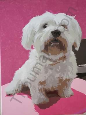 Pintura de Perro en acrílico sobre lienzo 40 x 60 cm